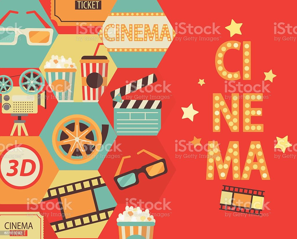 Cinema background, vector. vector art illustration