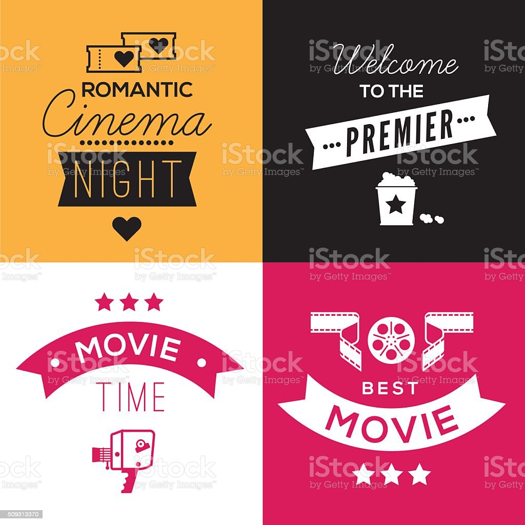 Cinema compositions with text vector art illustration