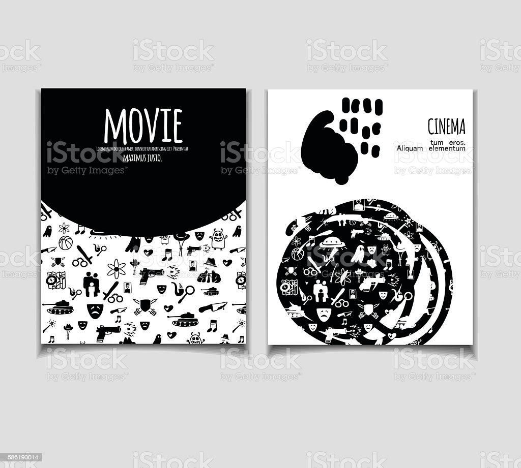 Cinema flyer doodle vector art illustration