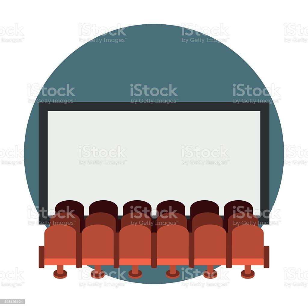 Cinema hall flat icon vector art illustration