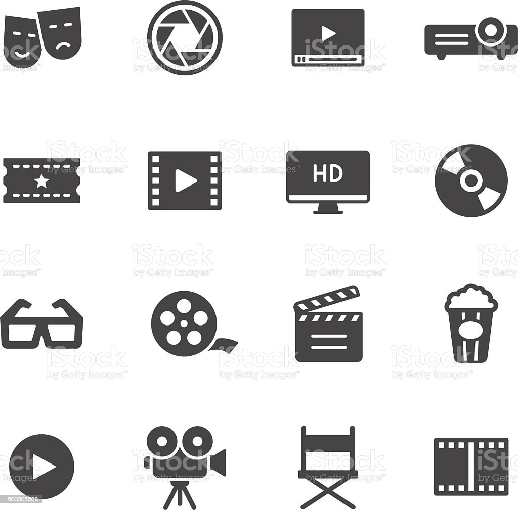 Cinema Icons vector art illustration