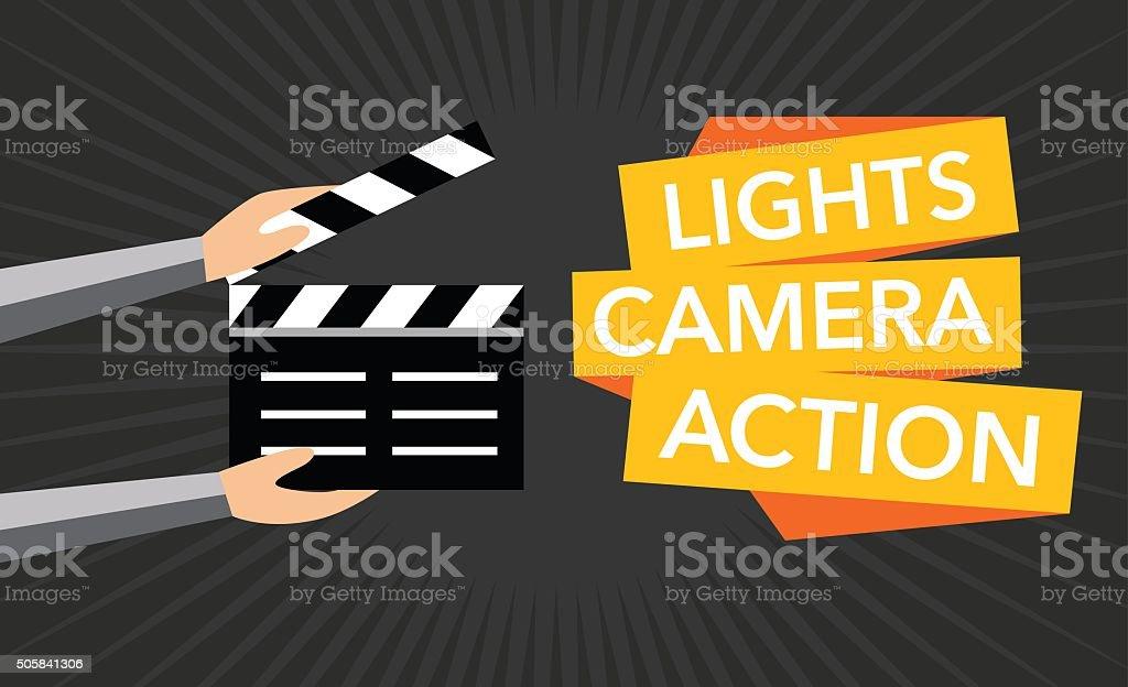 cinema lights camera action flat vector vector art illustration