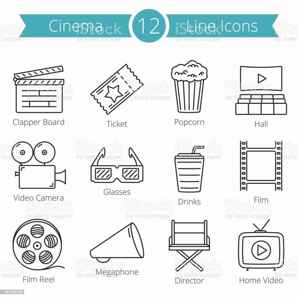 Cinema Line Icons vector art illustration