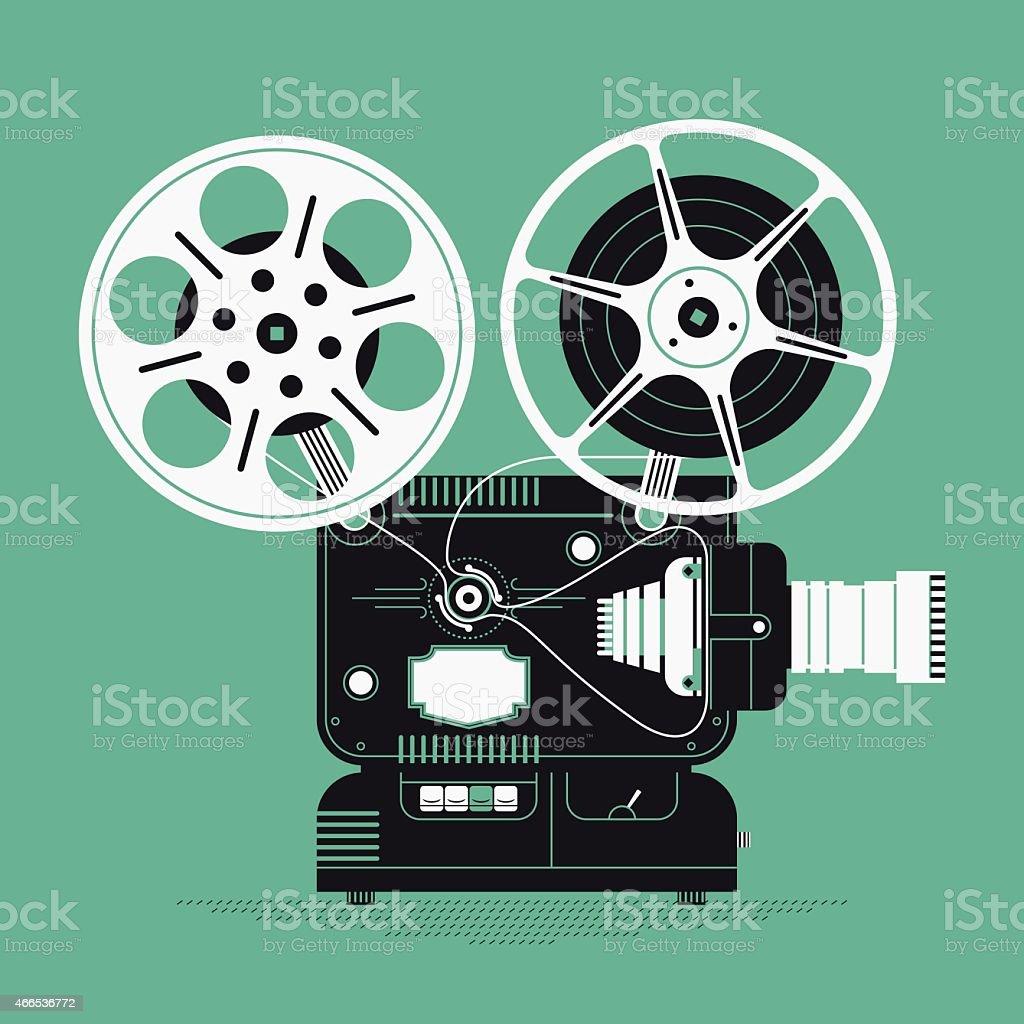 Cinema motion picture film projector vector art illustration