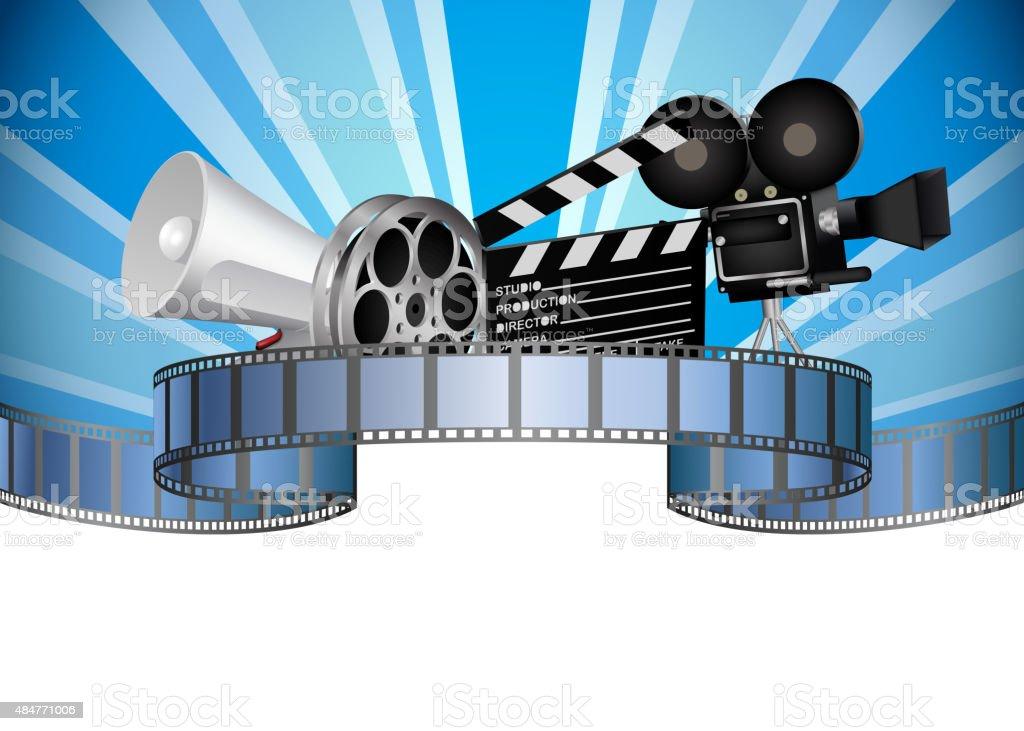 Cinema, movie, film and video media industry vector art illustration