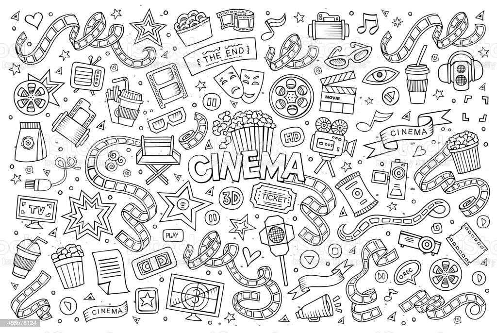 Cinema, movie, film doodles sketchy vector symbols vector art illustration