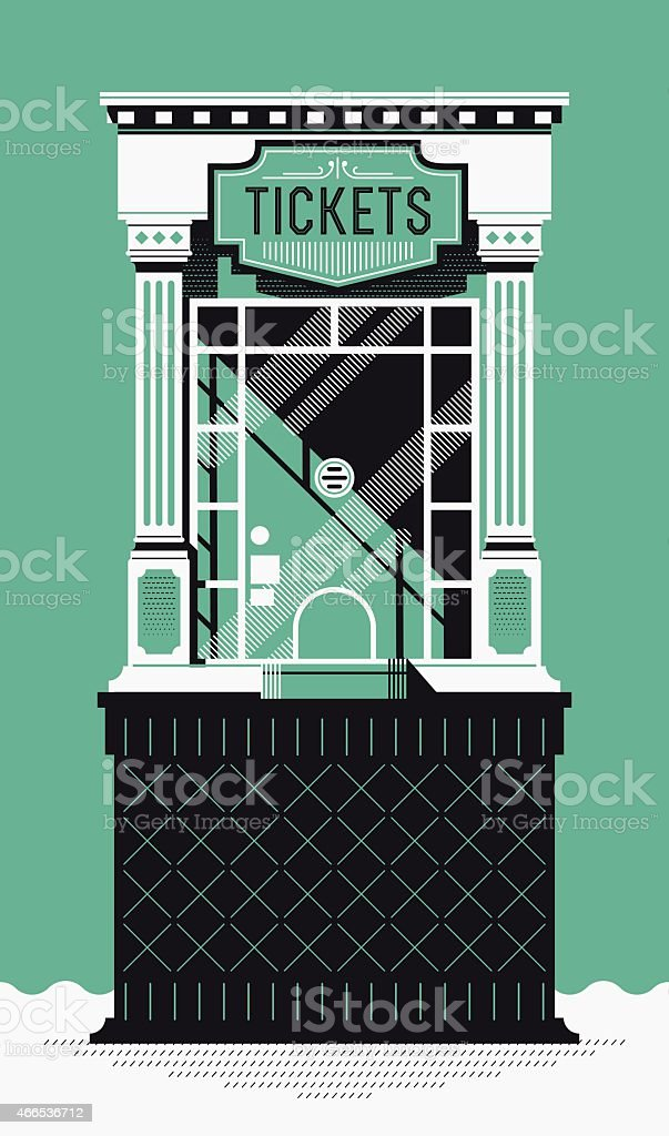 Cinema movie theater tickets box office booth vector art illustration