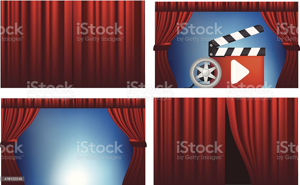 cinema or theatre cutains opened and closed vector art illustration