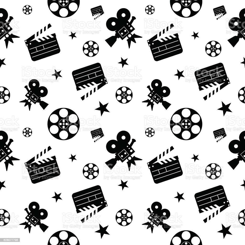 cinema pattern black vector art illustration