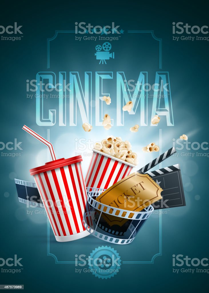 Cinema Poster Design Template vector art illustration