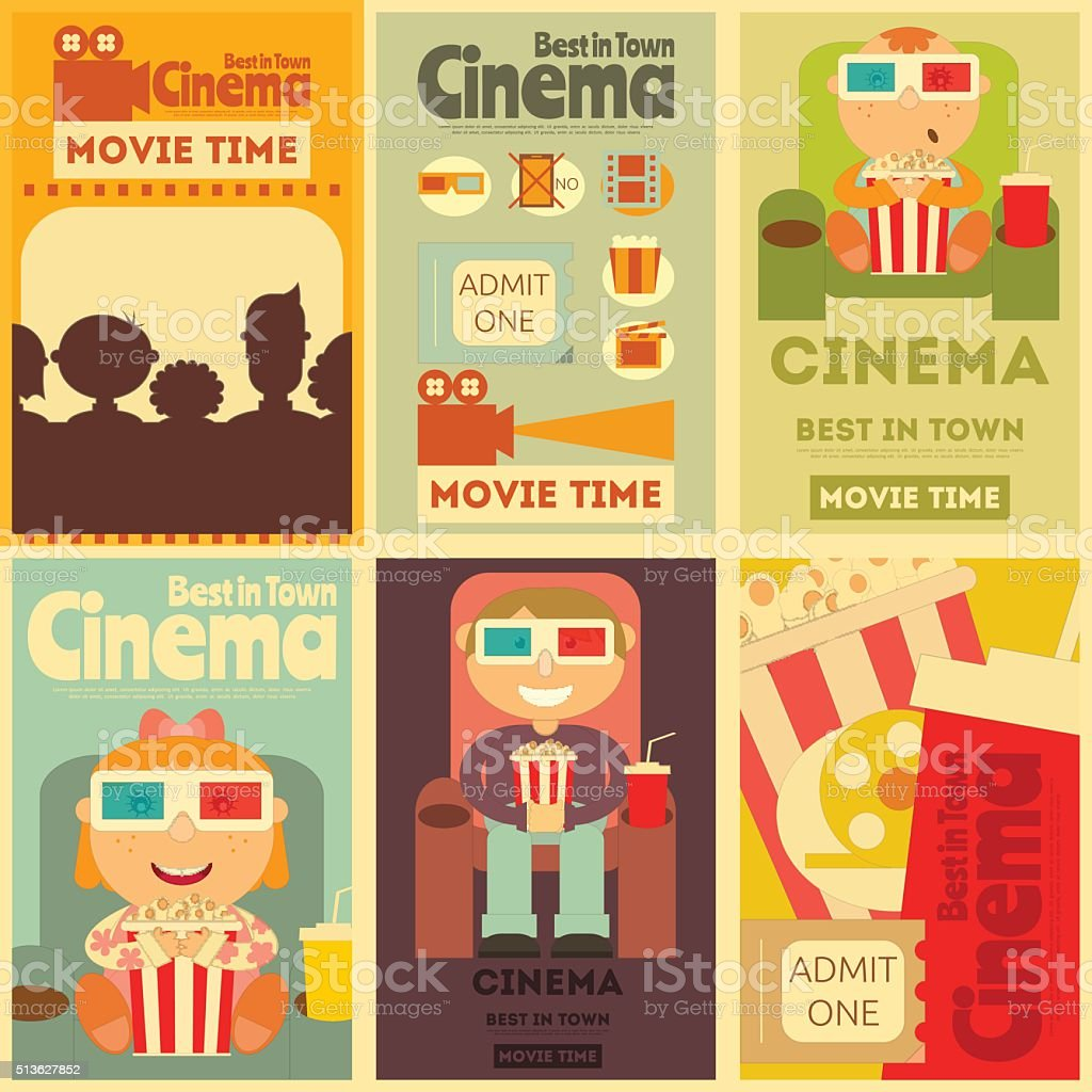 Cinema Posters Set vector art illustration