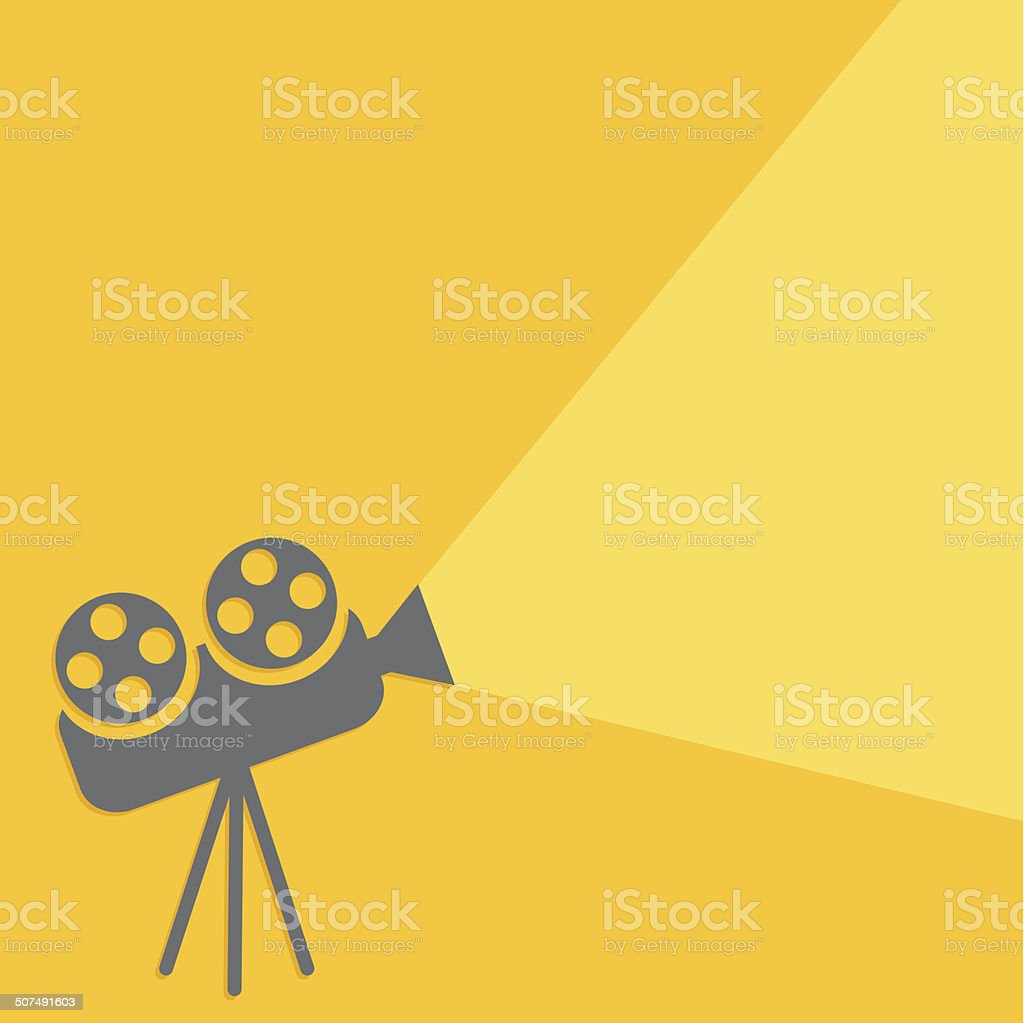 Cinema projector with ray of light. Flat design. vector art illustration
