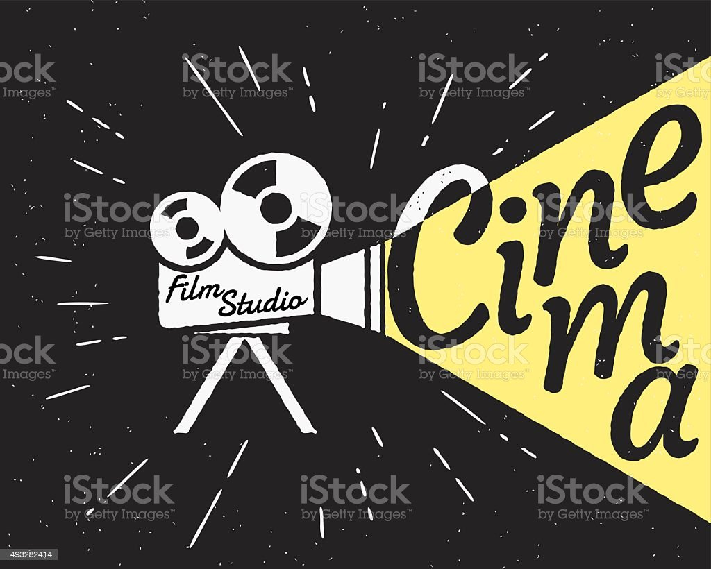 Cinema projector with yellow light hipster stylized poster vector art illustration