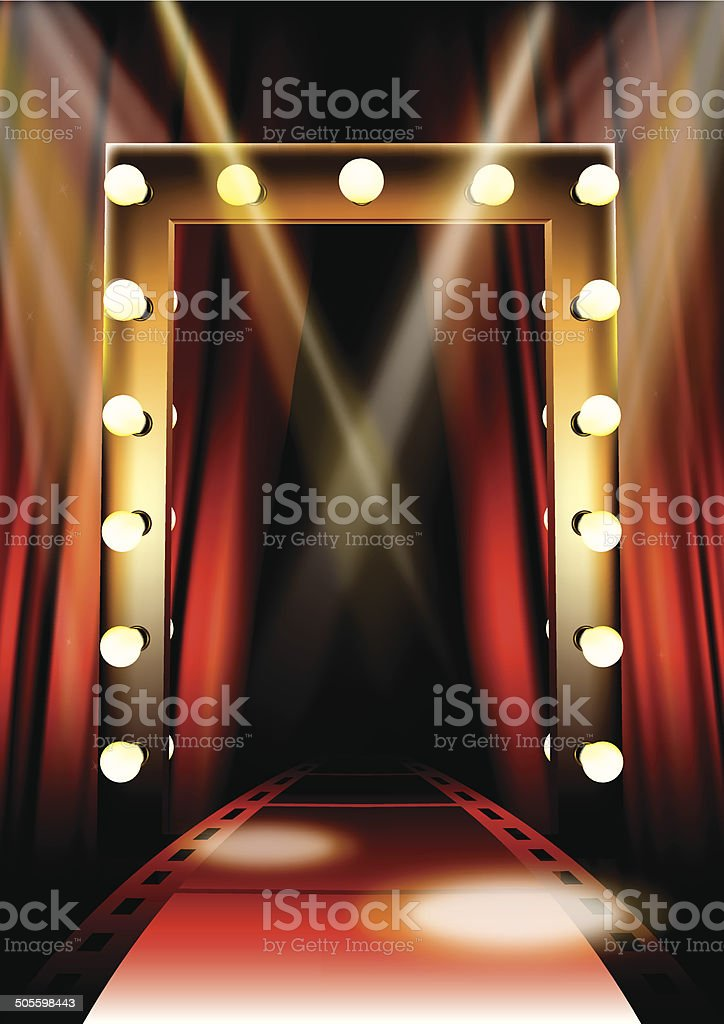 Cinema Red carpet vector art illustration