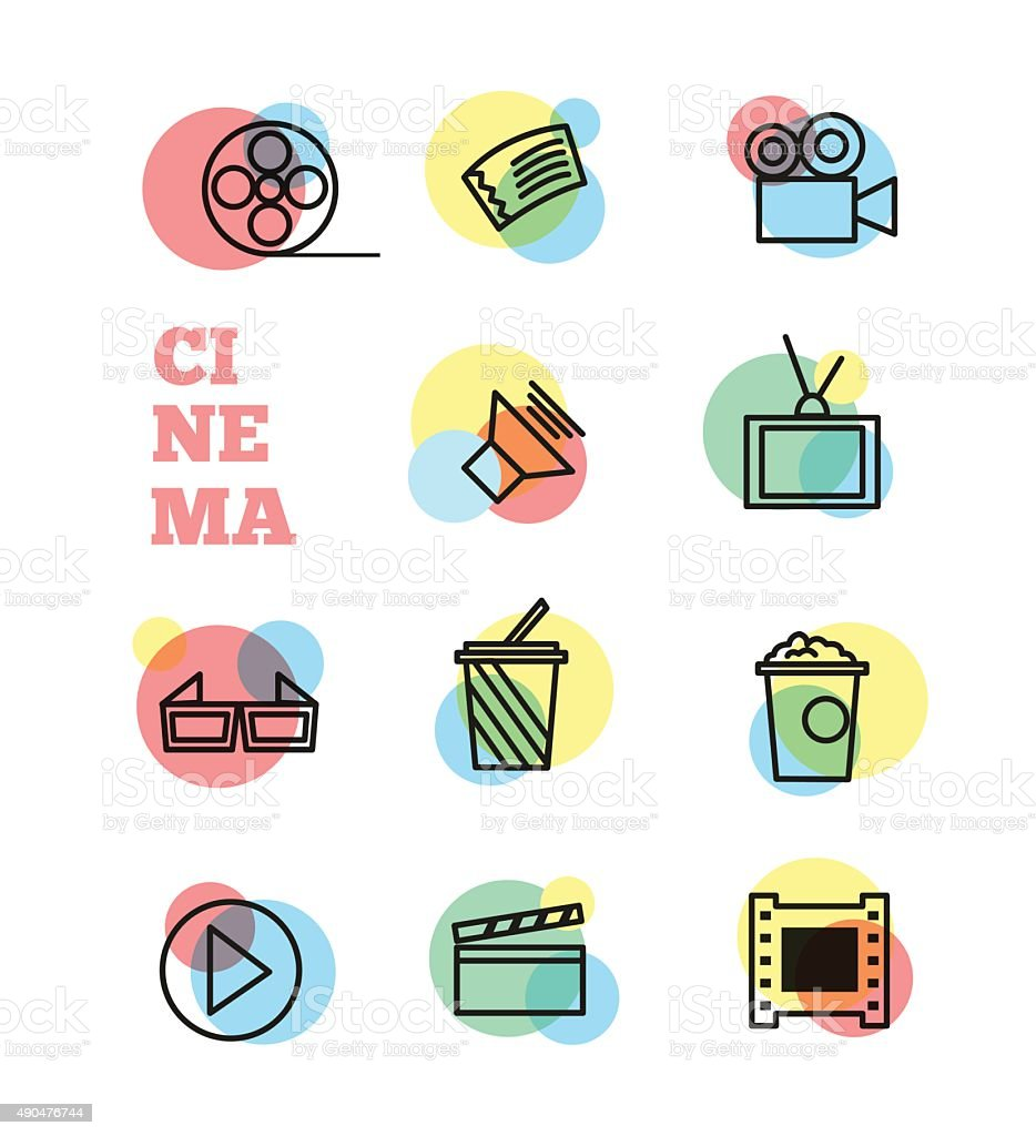 Cinema sign and symbol vector set vector art illustration