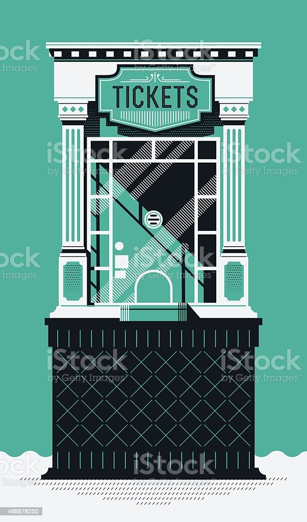 Cinema theather tickets booth vector art illustration