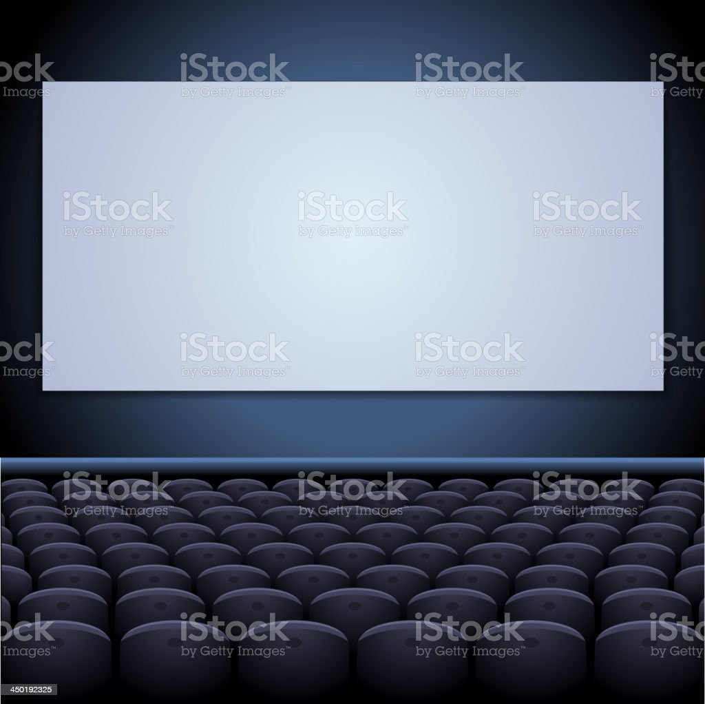 Cinema theatre with screen and seats. royalty-free stock vector art