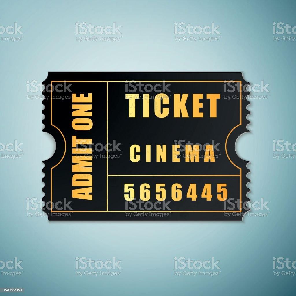 Cinema ticket icon isolated on blue background. Vector Illustration vector art illustration