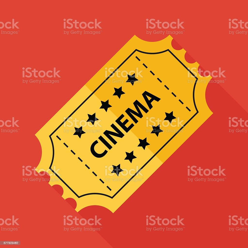 cinema ticket icon with long shadow. flat style illustration vector art illustration
