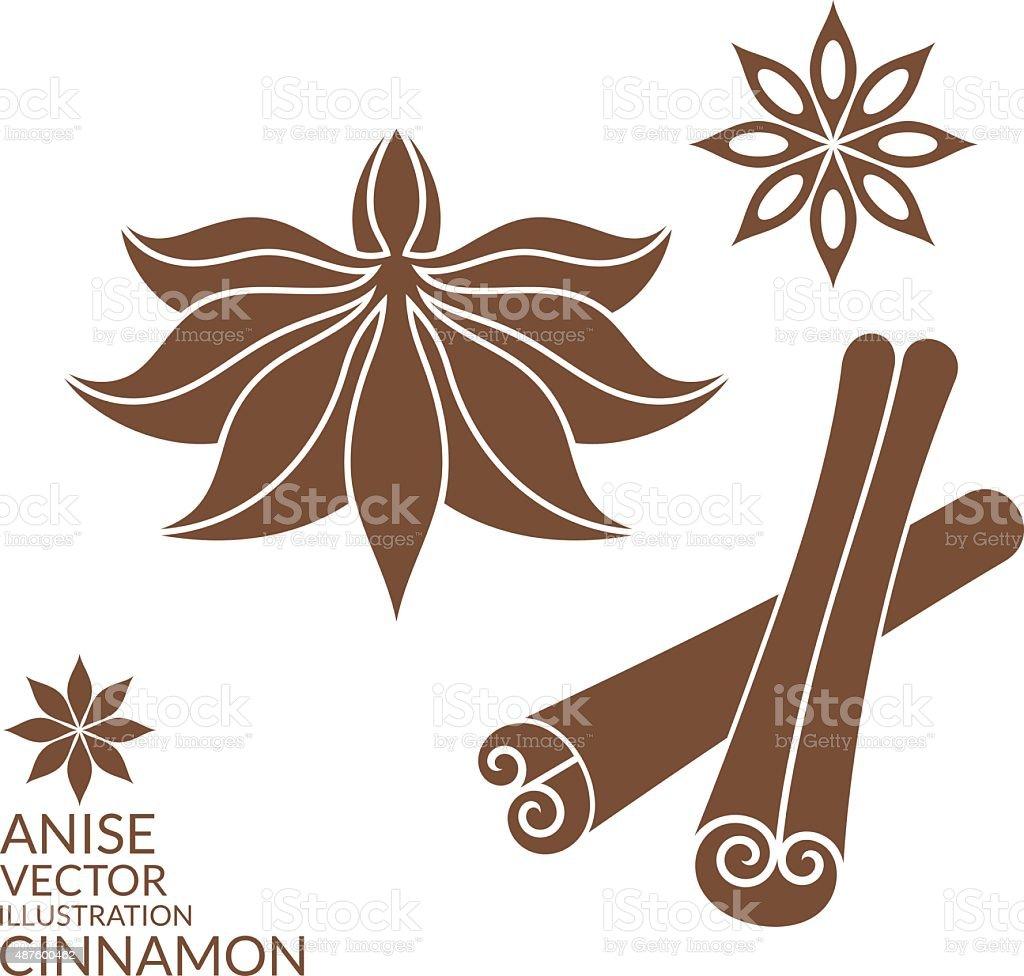 Cinnamon. Anise. Isolated on white background vector art illustration