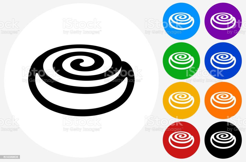 Cinnamon Bun Icon on Flat Color Circle Buttons vector art illustration