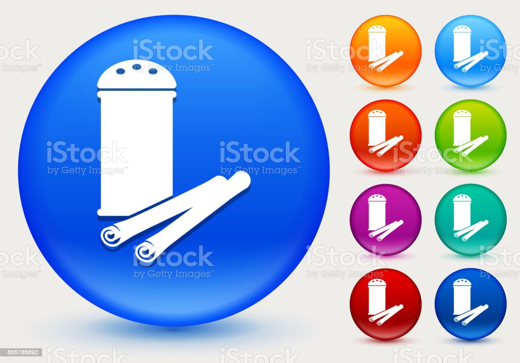 Cinnamon Icon on Shiny Color Circle Buttons vector art illustration