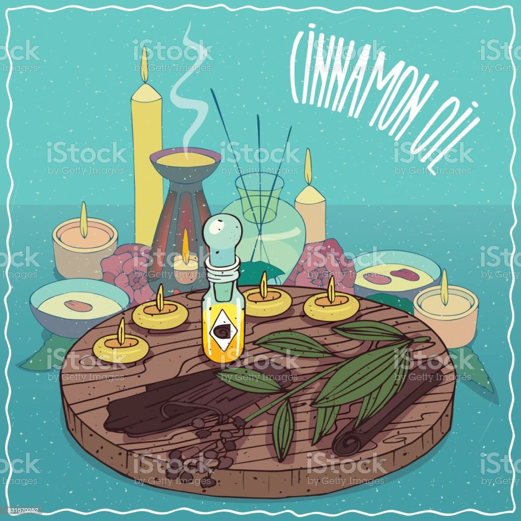 Cinnamon oil used for aromatherapy vector art illustration