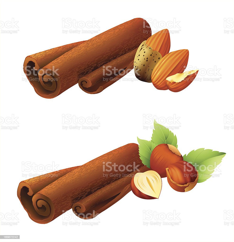 cinnamon with nuts royalty-free stock vector art