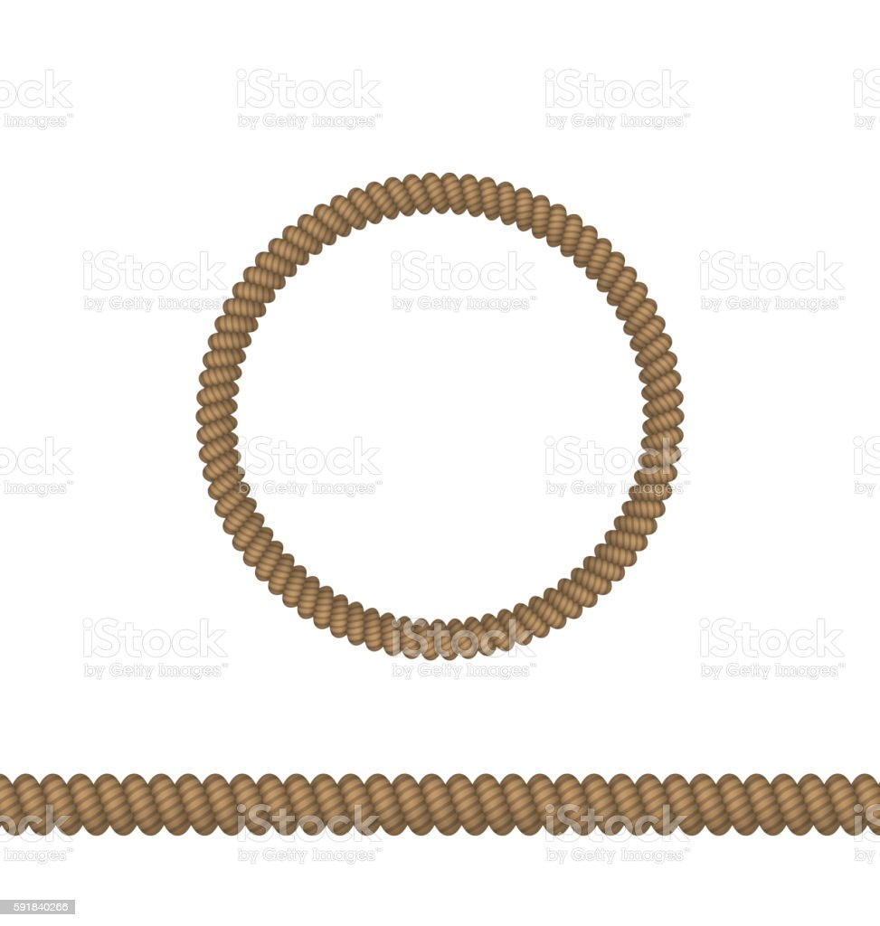Circle and line rope elements isolated on white background vector art illustration