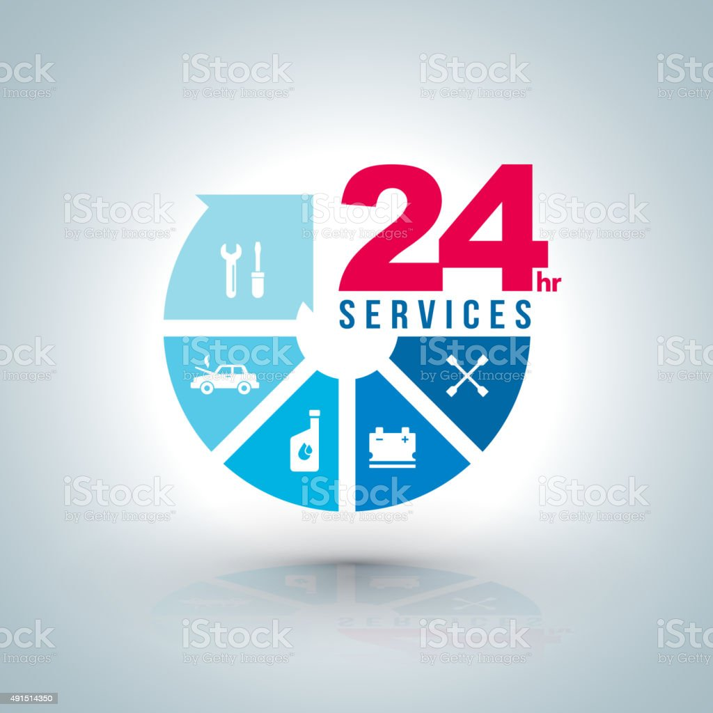 Circle arrow step services  with icons for car service. vector art illustration