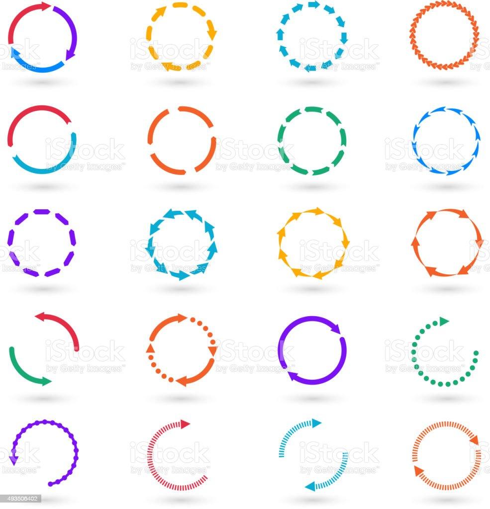 Circle arrows infographic elements vector set vector art illustration