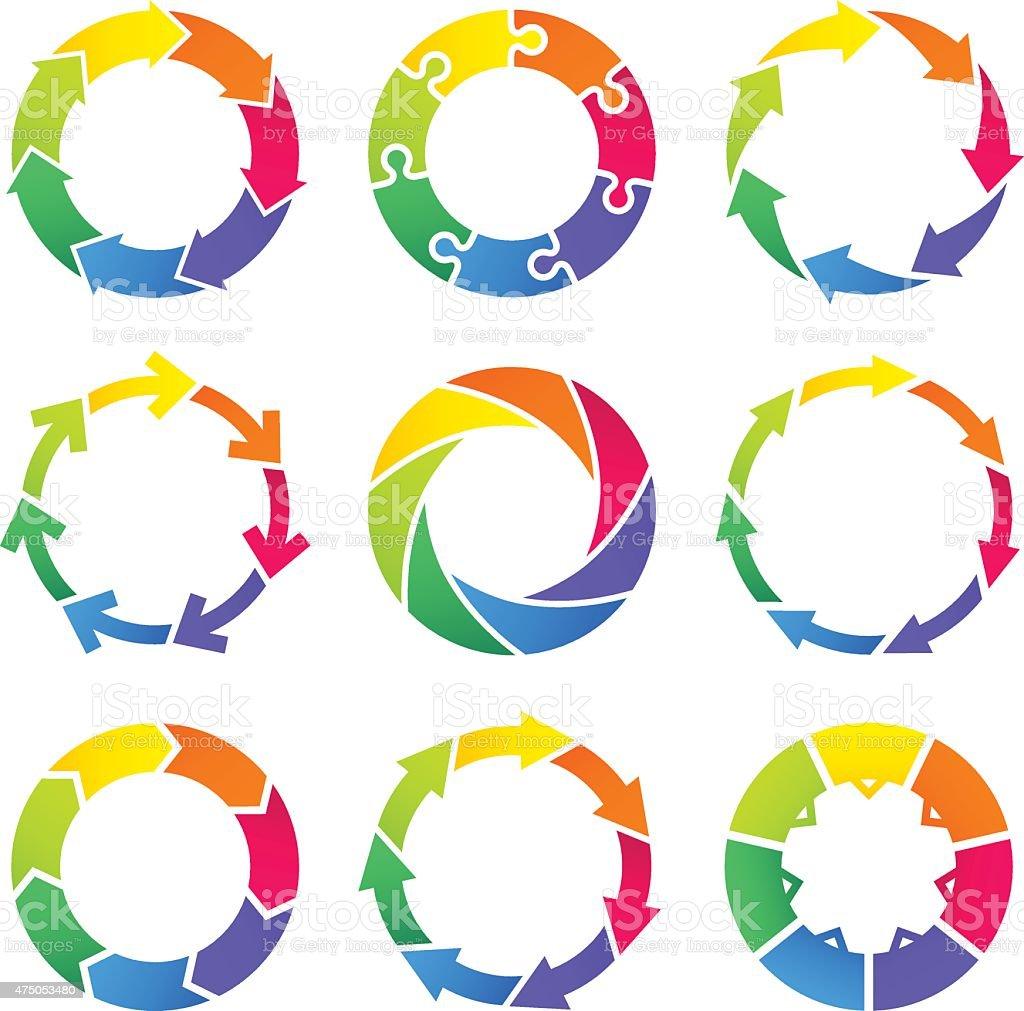 Circle arrows infographic vector art illustration