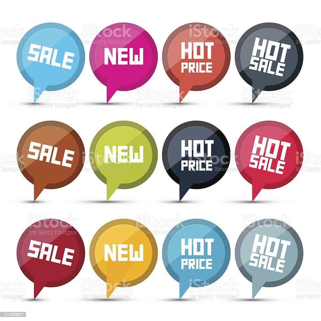 Circle Business Labels - Tags Set vector art illustration