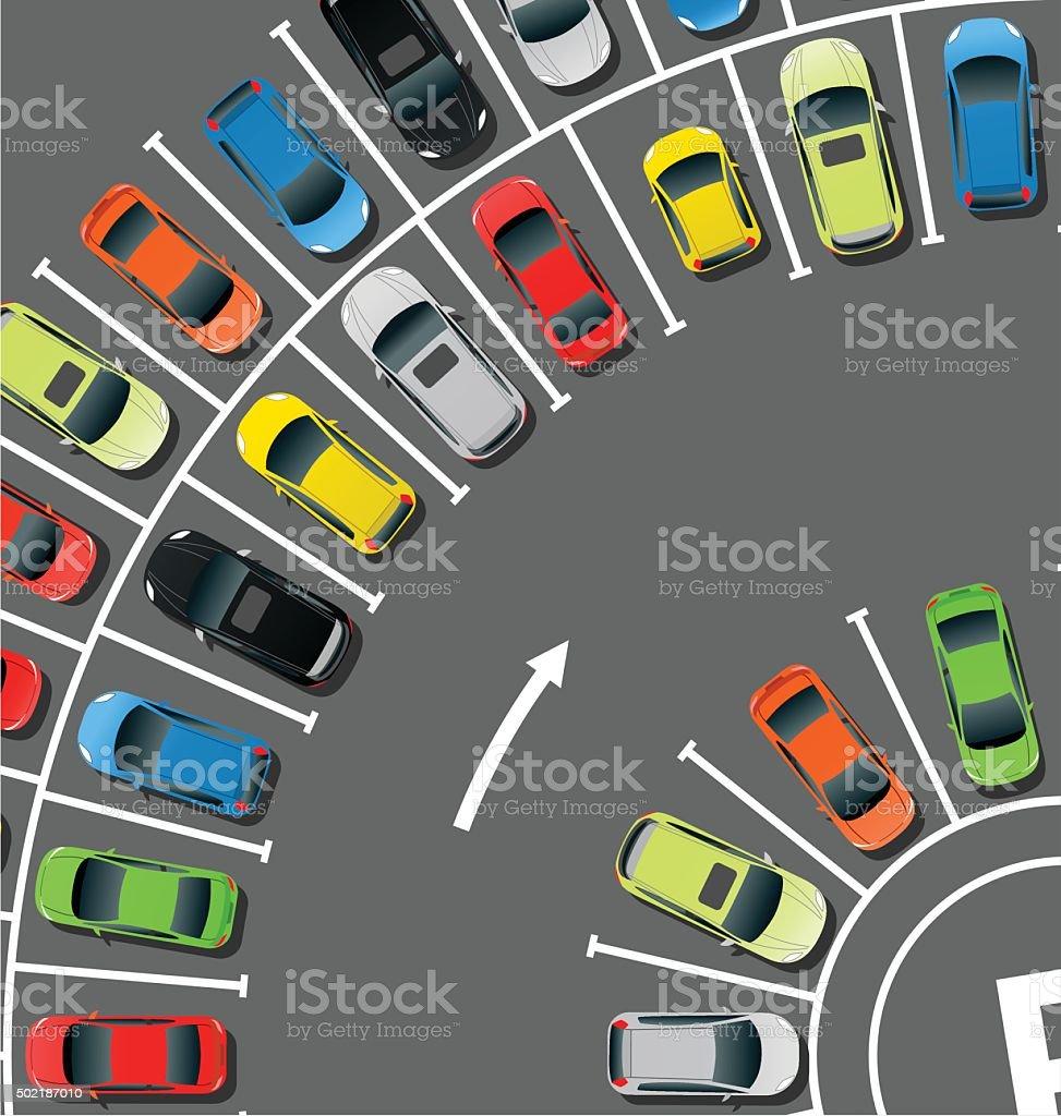 Circle Car Parking vector art illustration