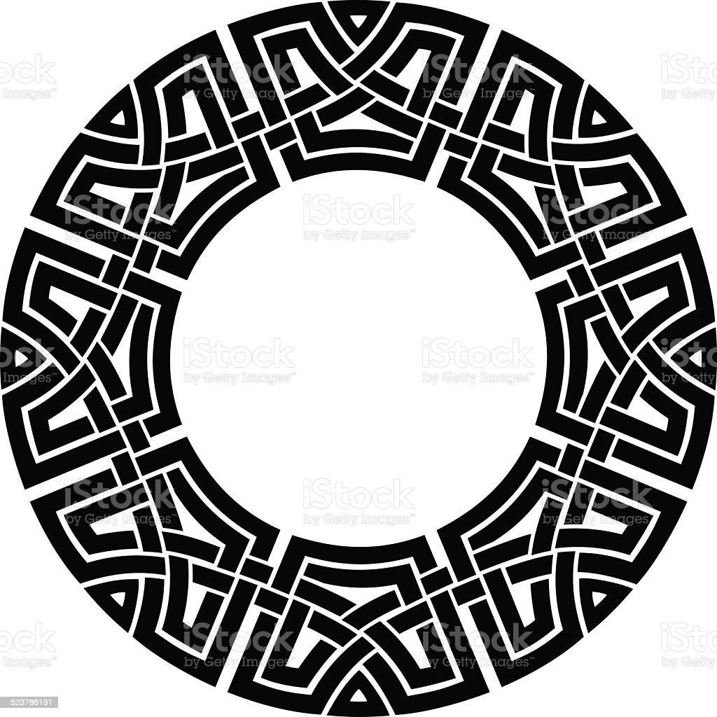 circle celtic frame vector art illustration