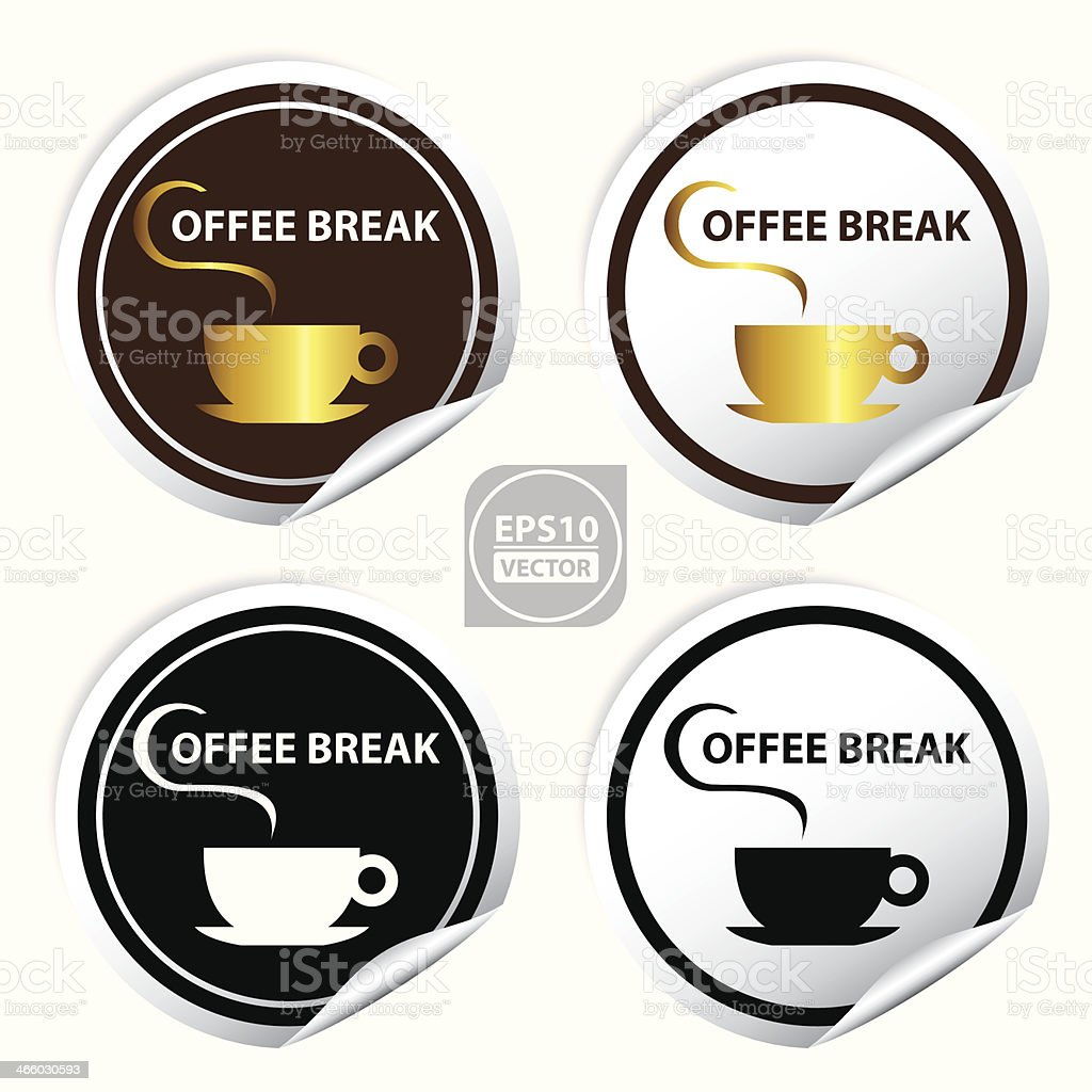 Circle Coffee Break Stickers, Signs, Symbols, Labels, Icons. royalty-free stock vector art