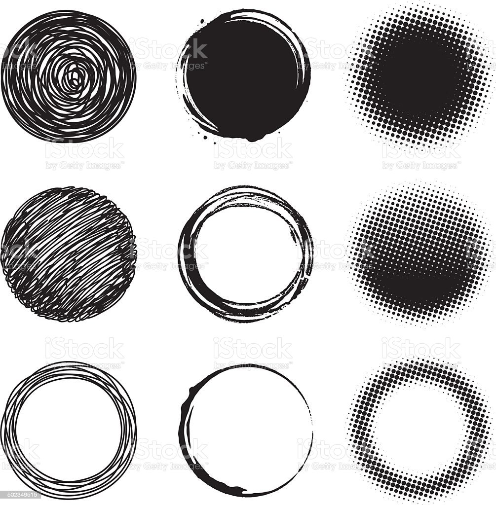 Circle design elements vector art illustration