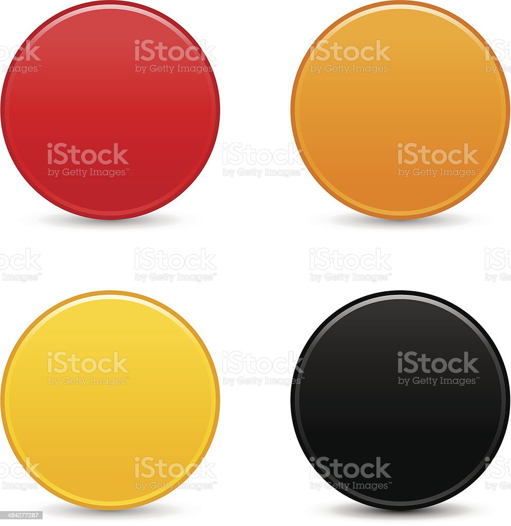 Circle empty icon blank red orange yellow black web button vector art illustration