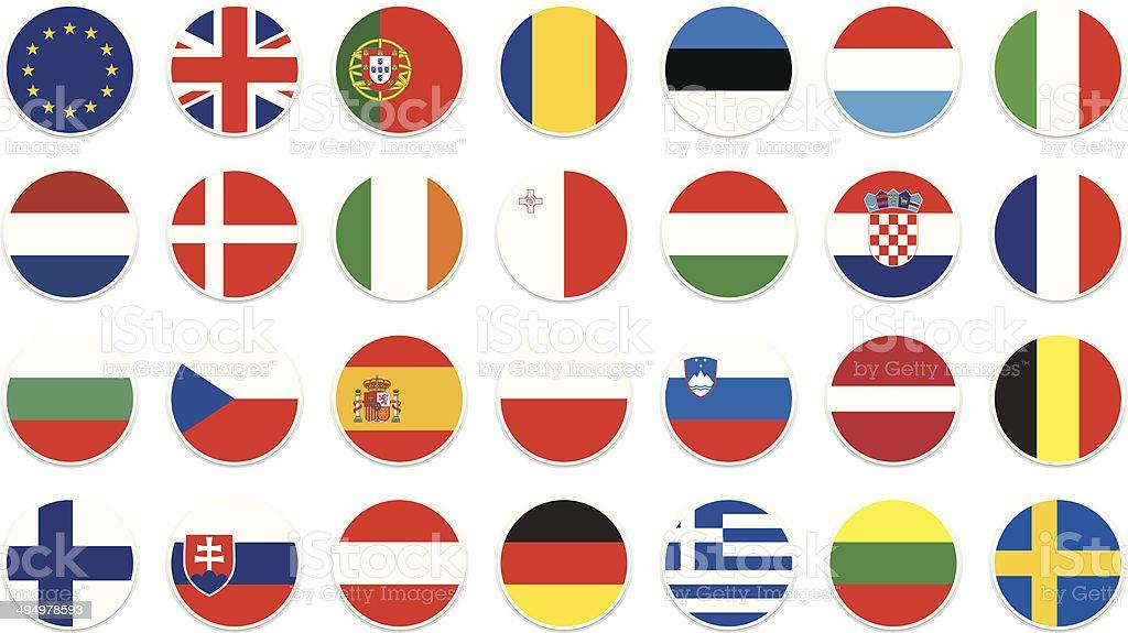 EU circle flag vector art illustration
