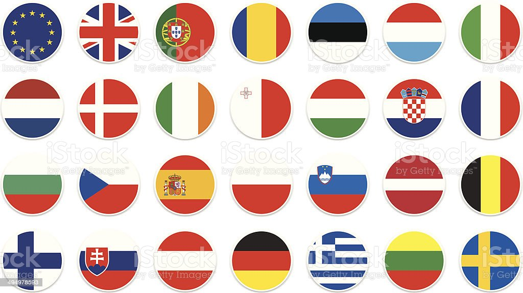 EU circle flag vector art illustration