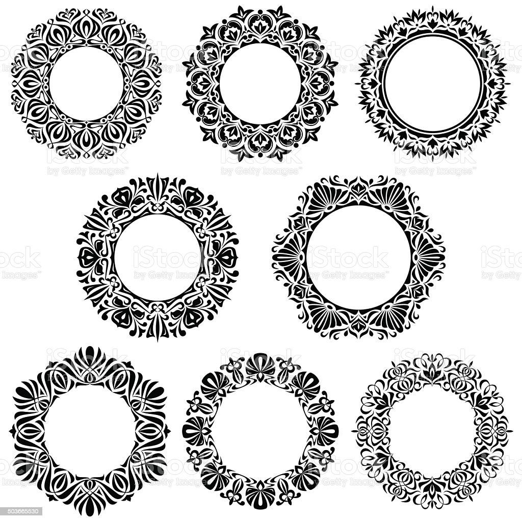 Circle floral design elements vector art illustration