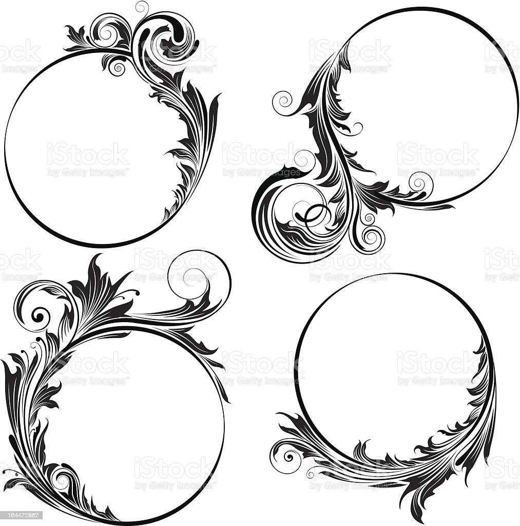 Circle floral design royalty-free stock vector art