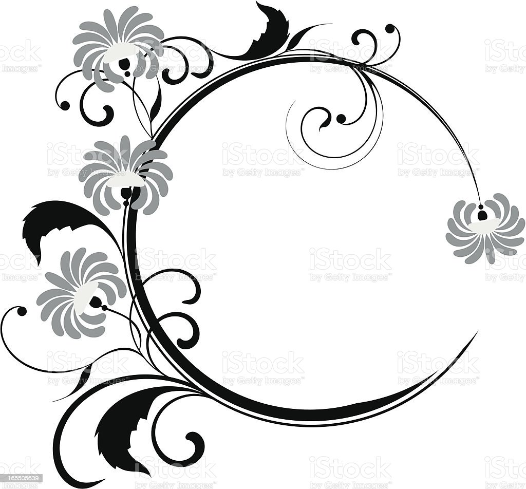 Circle floral frame XIV royalty-free stock vector art