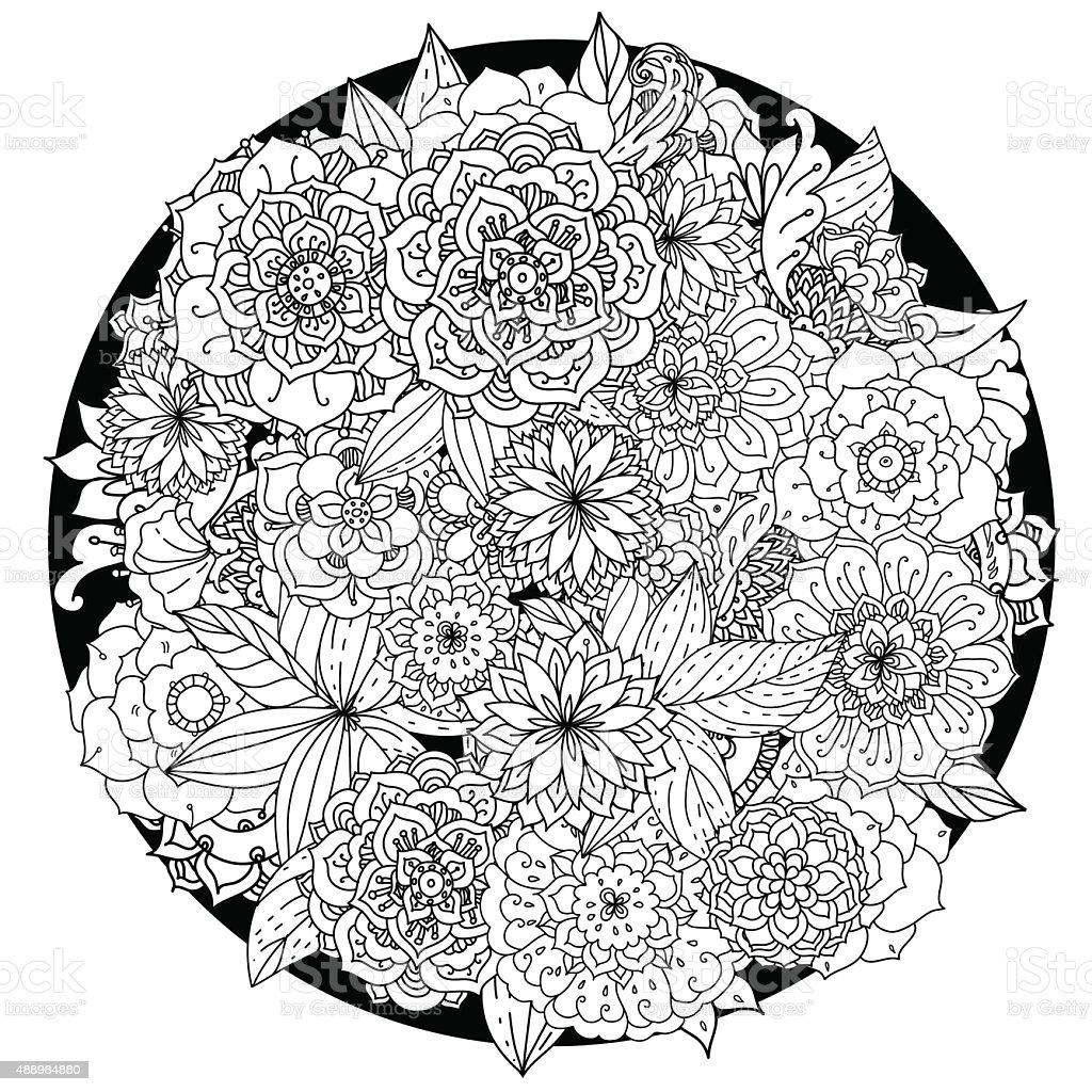 Circle floral ornament. Hand drawn art mandala.  Made by trace vector art illustration