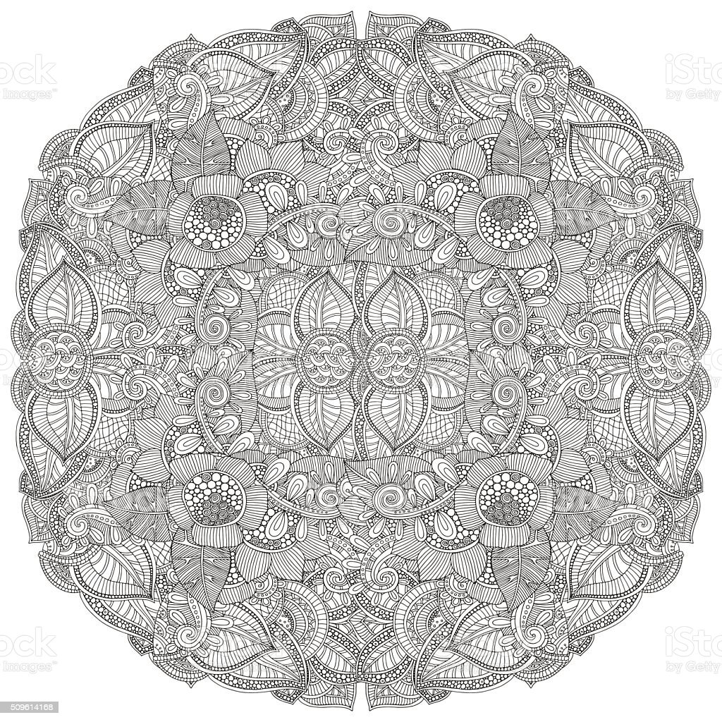 Circle floral ornament. Hand drawn art mandala vector art illustration