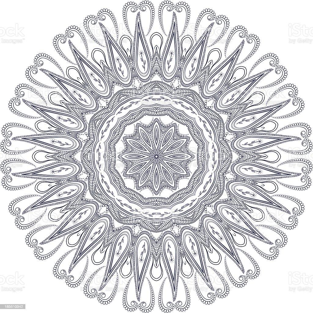 Circle floral ornament, royalty-free stock vector art