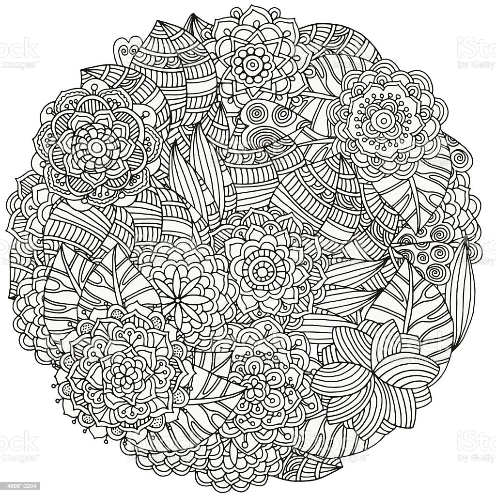 Circle floral ornament. vector art illustration