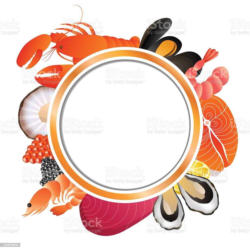 Circle frame food fish mussel shrimp oyster salmon lobster scallop vector art illustration