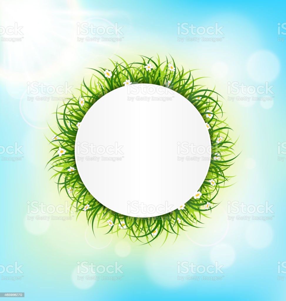 Circle frame with green grass, chamomiles and sunlight on sky vector art illustration