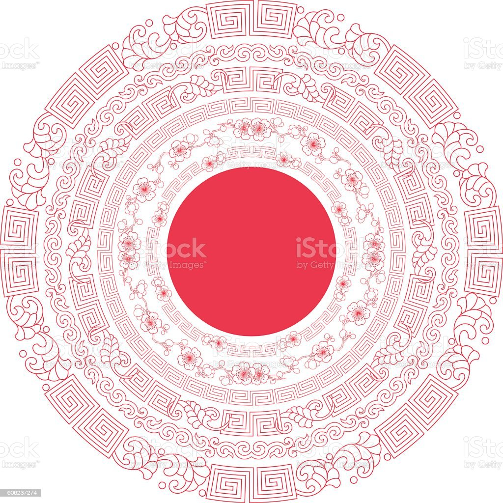 Circle frames of Chinese Style vector art illustration